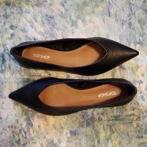 NWT Topshop Leather Pointy Toe Flats Sz EU 38
